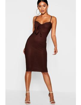Skinny Strap Tie Front Midi Dress by Boohoo
