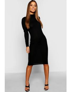Petite High Neck Ribbed Midi Dress by Boohoo