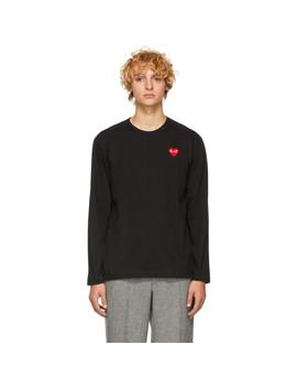 黑色 & 红色心形贴布长袖 T 恤 by Comme Des GarÇons Play