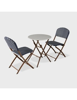 French Café 3pc Wicker Folding Patio Bistro Set   Navy/White   Threshold™ by Threshold