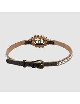 Leather Choker With Double&Nbsp;G by Gucci