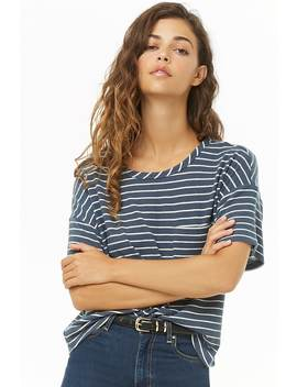 Striped Brushed Knit Top by Forever 21