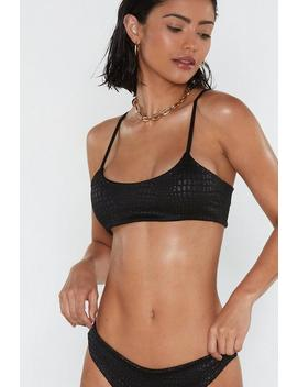 Animal Embossed Crinkle Crop Bikini Set by Nasty Gal