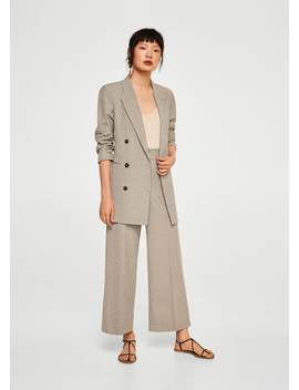 Cropped Bukse Med Ruter by Mango