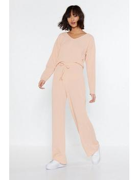 Rib Hooded Top & Wide Leg Lounge Set by Nasty Gal