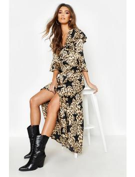Star Leopard Print Ruffle Hem Maxi Dress by Boohoo