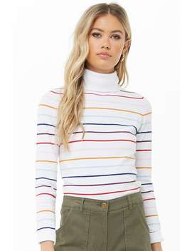 Striped Turtleneck Top by Forever 21