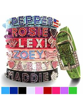 Bling Stuff For Fun Tm, Personalized Customized Pu Leather Glitter Rhinestone Bling Name Collar For Dogs & Puppies by Bling Stuff For Fun