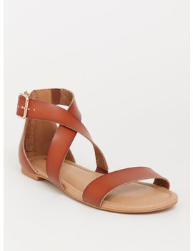 Brown Crisscross Gladiator Sandal (Wide Width) by Torrid
