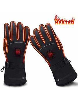 Global Vasion Electric Heated Gloves With Rechargeable Batteries Gloves Waterproof Thermal Gloves Touchscreen For Skiing Walking Hiking Climbing Driving Cold Weather Gloves by Global Vasion