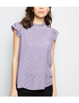 Lilac Jacquard Spot Sleeveless Top by New Look