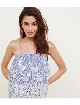 Blue Stripe Embroidered Cut Out Cami by New Look