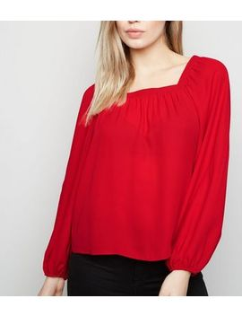 Red Square Neck Long Sleeve Blouse by New Look