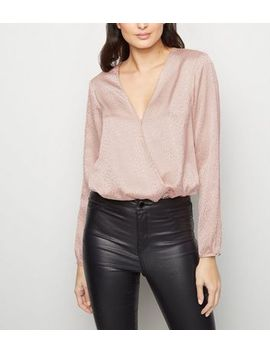 Pale Pink Abstract Spot Long Sleeve Bodysuit by New Look