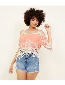 Coral Crochet Trim Cold Shoulder Top by New Look