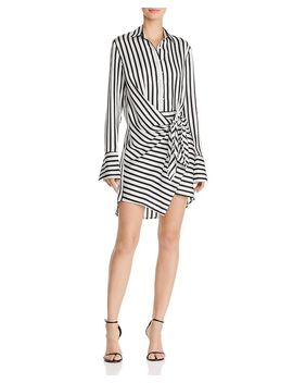 Tie Front Striped Shirt Dress   100 Percents Exclusive by Aqua