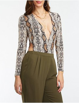 Snakeskin Cut Out Wrap Bodysuit by Charlotte Russe