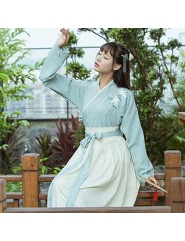 Cedar Smile   Long Sleeve Embroidered Top/ Maxi A Line Skirt/ Scarf/ Hanfu Set by Cedar Smile