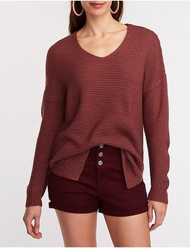 V Neck Tunic Pullover Sweater by Charlotte Russe