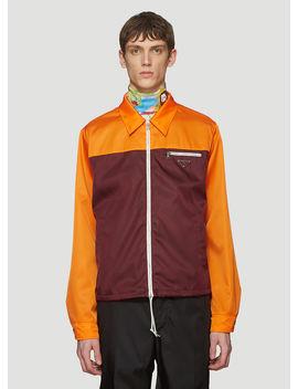 Nylon Gabardine Zip Jacket In Orange by Prada