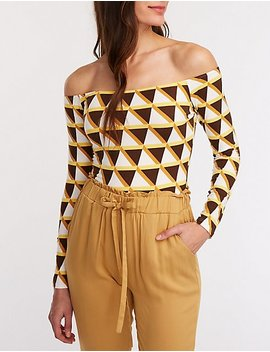 Geometric Off The Shoulder Bodysuit by Charlotte Russe