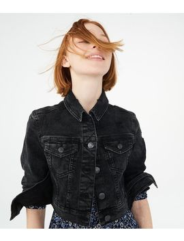 Seriously Stretchy Black Wash Crop Denim Jacket by Aeropostale