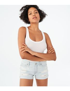 Seriously Stretchy High Waisted Light Wash Destroyed Denim Midi Shorts by Aeropostale