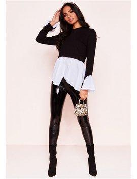 Jessie Black Layered Look Jumper Shirt by Missy Empire