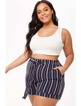 Plus Size Paperbag Striped Shorts by Forever 21