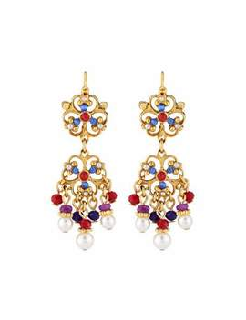 Short Filigree Crystal & Pearly Drop Earrings by Jose & Maria Barrera
