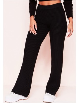 Addie Black Ribbed Wide Leg Trousers by Missy Empire