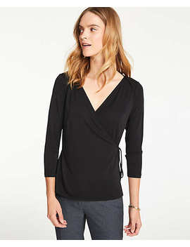 Matte Jersey Wrap Top by Ann Taylor