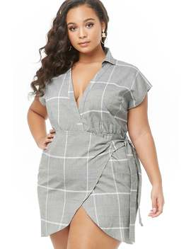 Plus Size Glen Plaid Wrap Dress by Forever 21
