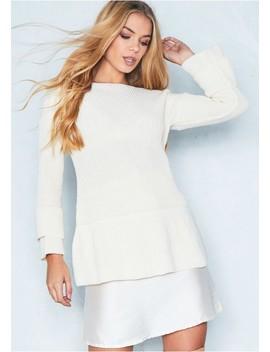 Rosanna Cream Frill Sleeve Knitted Jumper by Missy Empire