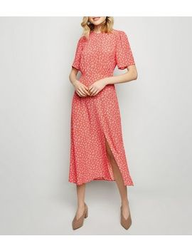 Red Ditsy Floral Split Midi Dress by New Look