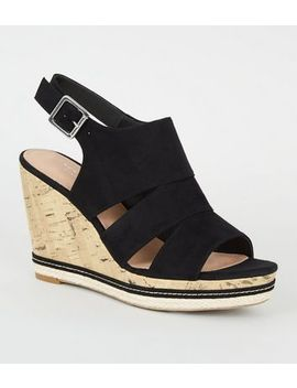 Black Comfort Suedette Cut Out Cork Effect Wedges by New Look