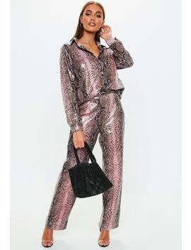 Pink Snake Print Vinyl Wide Leg Pants by Missguided