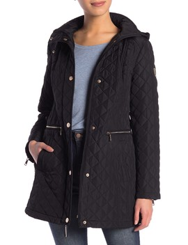 Quilted Hooded Trench Coat by Vince Camuto