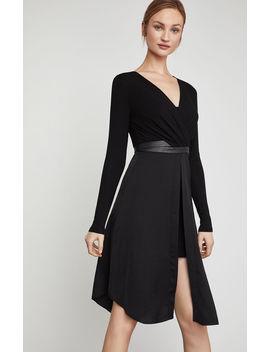 Faux Wrap Pleather Trimmed Dress by Bcbgmaxazria