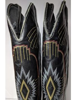 Durango Cowboy Boots 8 M Black Leather Multi Colored Stitching Pointy Western by Durango