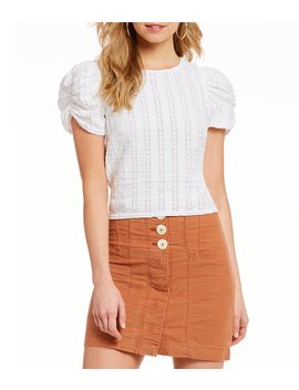 Star Struck Knit Puffed Sleeve Open Back Top by Free People