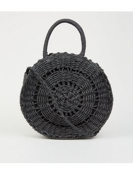 Black Rounded Woven Cross Body Bag by New Look
