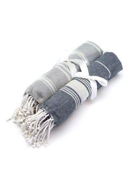 Turkish Beach Bath Yoga / Hammam Peshtemal Fouta Towel Grey & Dark Blue X2 by Ebay Seller