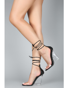 Snake Embossed Open Toe Lace Up Clear Wedge by Urbanog