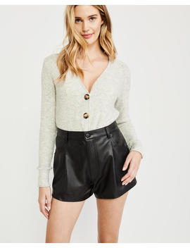 High Rise Faux Leather Shorts by Abercrombie & Fitch