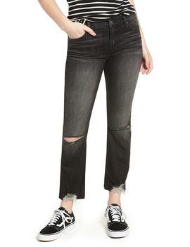 The Varick Distressed Crop Flare Jeans (Barracuda) by Blanknyc Denim