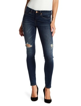 Distressed Mid Rise Skinny Jeans by Blanknyc Denim
