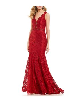 Embroidered Lace Two Piece Long Dress by Abbi Vonn By La Femme