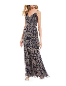 Geometric Glitter Pattern Long Dress by Jump