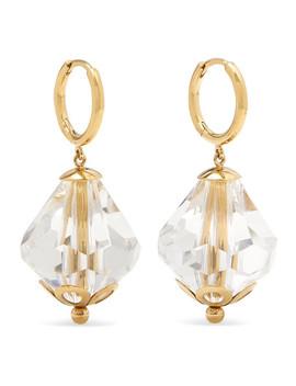 Gold Tone Crystal Hoop Earrings by Simone Rocha